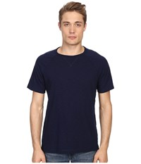 Vince Cotton Slub Fabric Blocket Short Sleeve Raglan Indigo Men's T Shirt Blue