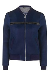 Topshop Tape Detailed Airtex Bomber Jacket Navy Blue