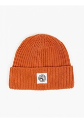 Stone Island Orange Ribbed Wool Beanie Hat