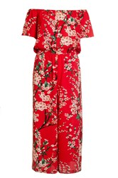 Quiz Red Crepe Floral Culotte Jumpsuit Red