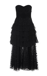 Giamba Sweetheart Strapless Layered Dress Black