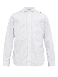 Junya Watanabe Patchwork Canvas And Pinstriped Cotton Shirt White Multi