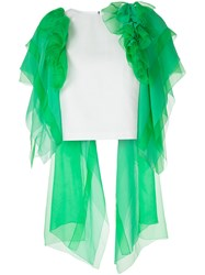 Delpozo Ruffled Tulle Cropped Blouse Green