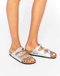 Birkenstock Florida Silver Narrow Fit Flat Sandals Silver