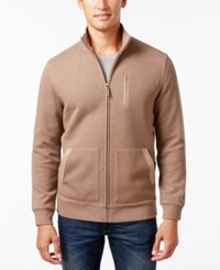 Tasso Elba Men's Zip Front Sweater Jacket Only At Macy's Cocoa Bean Heather