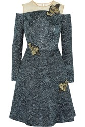 Erdem Leola Embellished Matelasse Dress Blue