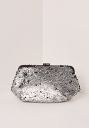 Missguided Silver Sequin Clutch Bag