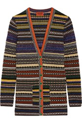 Missoni Striped Metallic Stretch Knit Cardigan Purple