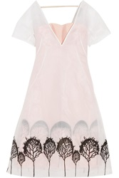 Vika Gazinskaya Printed Brushed Satin And Mesh Dress Pink