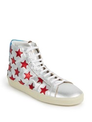 Saint Laurent Stars Metallic High Top Sneakers Silver Multi