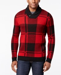 Club Room Men's Shawl Collar Plaid Sweater Only At Macy's Deep Black
