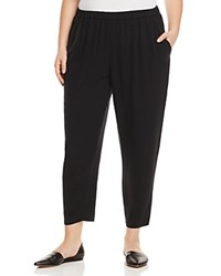Eileen Fisher Plus System Silk Slouchy Ankle Pants Black
