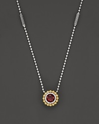 Lagos Sterling Silver And 18K Gold Pendant Necklace With Garnet 16