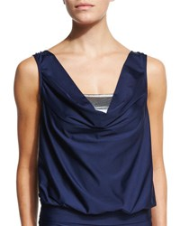Luxe By Lisa Vogel Premier Draped Tankini Top Navy