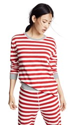 Sleepy Jones Helen Long Sleeve Shirt Medium Stripe Red