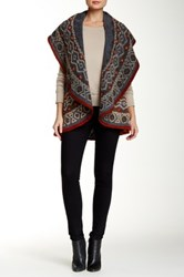 Luma Embroidered Sleeveless Wool Blend Poncho Multi