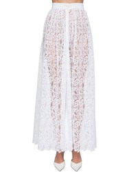 Ermanno Scervino High Waist Buttoned Lace Skirt White