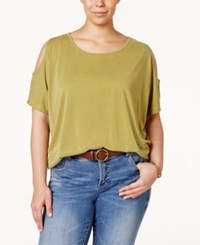 Ing Plus Size Solid Short Sleeve Cold Shoulder Top Everglade