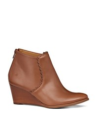 Jack Rogers Emery Leather Wedge Booties Cognac
