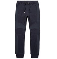 Balmain Slim Fit Canvas Panelled Stretch Cotton Jersey Sweatpants Navy