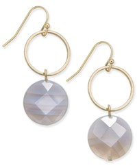 Inc International Concepts Gold Tone Semi Precious Hoop Drop Earrings Only At Macy's Brown Agate