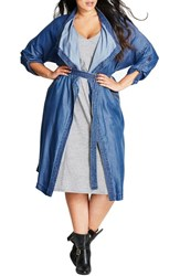 City Chic Plus Size Women's Wanderer Belted Chambray Jacket