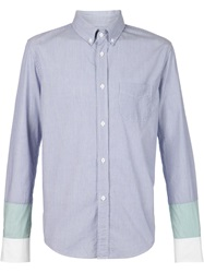 Band Of Outsiders Contrasting Cuffs Pinstripe Shirt Blue