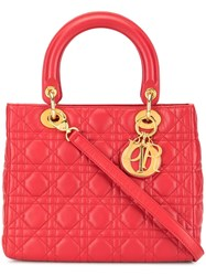 Christian Dior Vintage Lady Cannage 2Way Bag Red