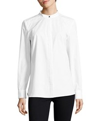 Ellen Tracy Long Sleeve Stand Collar Shirt White