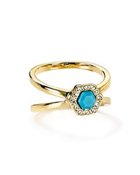 Rebecca Minkoff Pave Stone Double Band Ring Turquoise And Crystal