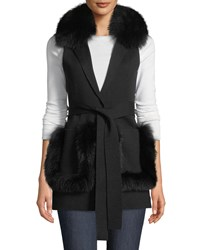 Kobi Halperin Lynn Sweater Vest W Fur Trim Black