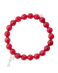 Sydney Evan 8Mm Faceted Red Agate Beaded Bracelet With 14K White Gold Diamond Love Charm Made To Order