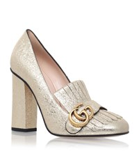 Gucci Marmont Fringed Loafer Heel Female Gold