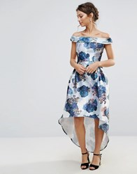 Amy Lynn Occasion Bardot Prom Skater Dress In Floral Print White