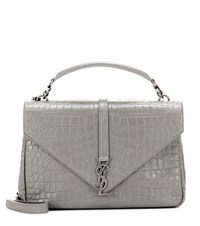 Saint Laurent Classic Monogram Embossed Leather Shoulder Bag Grey