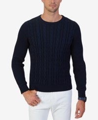 Nautica Men's Cable Knit Crew Neck Sweater Only At Macy's Navy