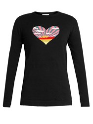 Bella Freud Sunset Heart Cotton And Cashmere Blend Sweater Black