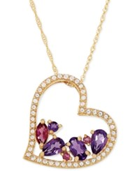 Macy's Multi Gemstone Heart Pendant Necklace 1 Ct. T.W. In 14K Gold Yellow Gold