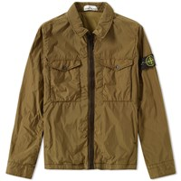 Stone Island Garment Dyed Crinkle Reps Zip Jacket Green