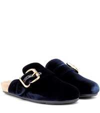 Prada Velvet Slippers Blue