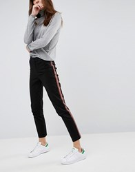 Asos Cigarette Trousers With Side Stripe Black