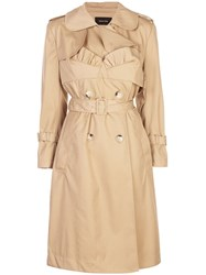 Simone Rocha Frill Detailed Belted Trench Neutrals