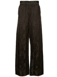 Haider Ackermann Jacquard Pyjama Style Trousers Brown