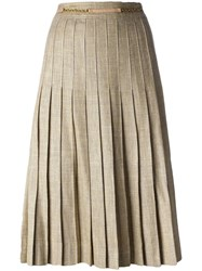 Celine Vintage Pleated Midi Skirt Yellow Orange