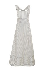 Luisa Beccaria Striped Linen Blend Jumpsuit