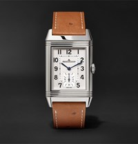 Jaeger Lecoultre Reverso Classic Large Duoface 27Mm Stainless Steel And Ostrich Watch Tan