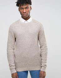 Asos Cashmere Mix Textured Jumper Oatmeal Brown