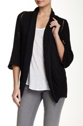 Luma Pointelle Knit Cardigan Black