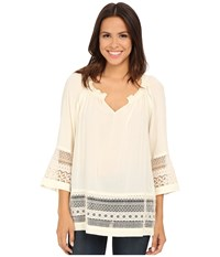 Roper 0019 Solid Rayon Peasant Blouse White Women's Blouse