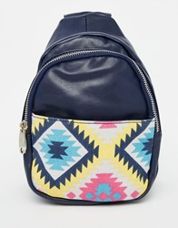 Urban Originals Backpack With Printed Pocket Navy Multi